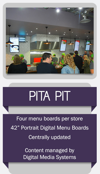 Digital Menu Boards installed for Pita Pit UK