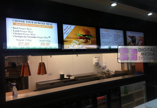 Digital Menu Boards installed at BURGER:CO